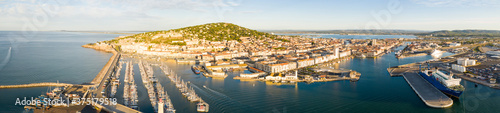 Panorama of the marina of the port of Sete on a summer morning, in Herault in Oc Fototapete
