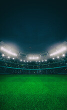 Grand Stadium Full Of Spectators Expecting An Evening Match On The Grass Field. High Format For Social Network Banners Or Posters. Sport Building 3D Professional Background Illustration.