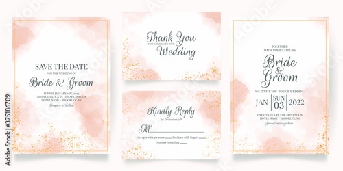 wedding invitation card template set with watercolor decoration Wallpaper Mural
