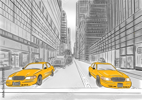 Fototapety, obrazy: street view of New York, yellow taxi, sketch illustration