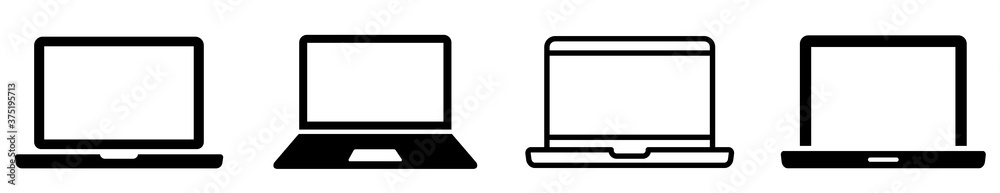 Fototapeta Laptop icons set. Laptop different style. collection Laptops or notebook computer. Flat and line icon - stock vector.