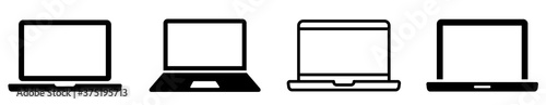 Fototapeta Laptop icons set. Laptop different style. collection Laptops or notebook computer. Flat and line icon - stock vector. obraz