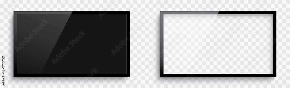 Realistic 3D blank TV screen. Television, modern screen lcd, led, HD, 4k, 5k. Modern lcd wall panel. Blank television template. Empty tv frame with shadow - stock vector.