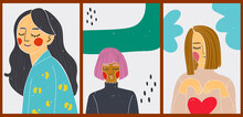 Bright Minimalist Contrasting Posters. A Set Of Modern Backgrounds For Your Social Media, Stories. Portrait Of A Young And Stylish Girl. Cartoon Illustrations With Lovely Women, Geometric Shapes.