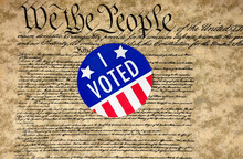 American Voting Sticker On United States Constitution Document