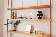 Modern Wooden Bookshelf With P...