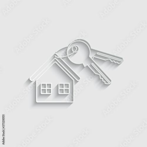 Valokuvatapetti paper house key icon vector sign