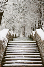 Snowy Steps And Stone Walls