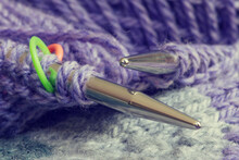 Macro Of Knitting Project In Progress