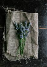 Lavender On Rustic Cloth.