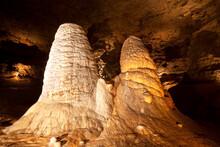 Giant Twin Stalagmites Inside A Missouri Cave