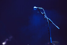 Microphone On Stage With Lights
