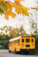 Blurred Yellow School Bus On A Country Road In Autumn