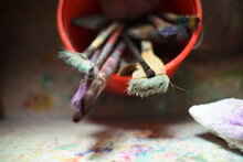 Paint Brushes In A Bucket In T...