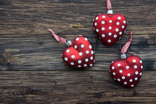 Christmas: Red Polka Dots Christmas Ornaments On Wooden Table