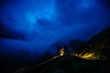 Panorama With Gauli SAC Mountain Hut After Nightfall
