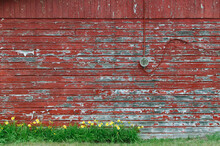 Weathered Red-painted Wall Wit...