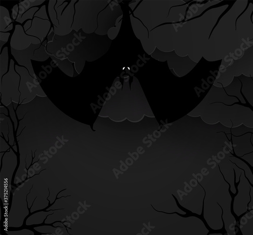 Fototapeta Bats in the forest in the night. Vector illustration paper style
