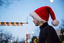 Happy Boy Wearing Santa Hat At...