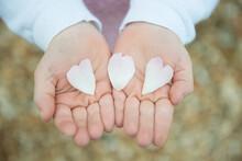 Little Girl Holding Heart Shaped Petals