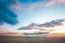 Sunset On The North Sea Beach.
