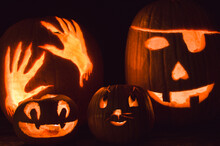 Carved Pumpkins (jack-o-lanterns) By Candlelight On Halloween