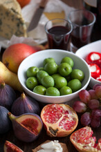 Olives, Fresh Fruit, Port And Cheese