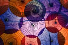 Red, Orange, And Purple Japanese Umbrellas
