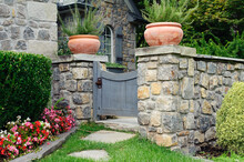 English Cottage Cobblestone Wall With Gate