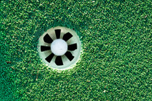 Overhead View Of A Golf Ball I...