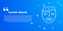 White Line Mexican Mayan Or Aztec Mask Icon Isolated On Blue Background. Vector.