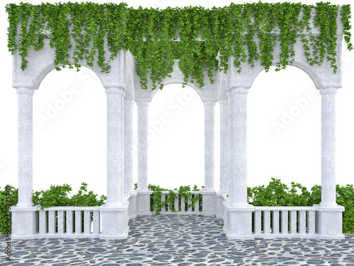 Obraz na plátně Arched colonnade with a balustrade entwined with ivy on a white background 3d rendering