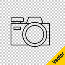Black Line Photo Camera Icon Isolated On Transparent Background. Foto Camera Icon. Vector.