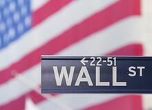 Wall Street Sign With USA Flag...