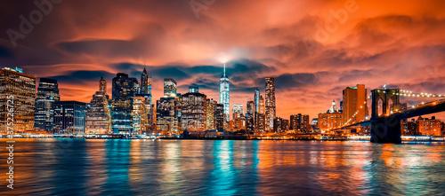Fotografie, Obraz View of Manhattan at sunset