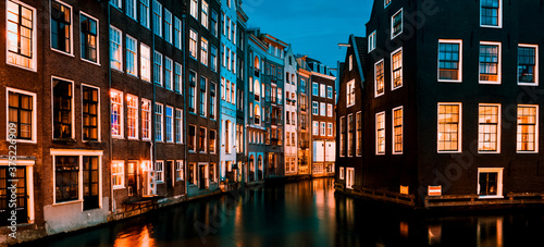 Fotografie, Tablou Typical Amsterdam houses