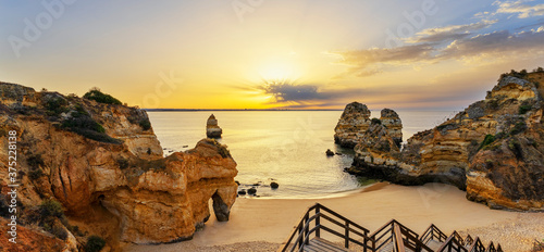 View of Camilo beach and staircase,at sunrise