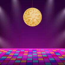 Dance Floor. Night Disco Parties. Retro Vintage Neon Grid Dance Floor Horizon. Vector Stock Illustration