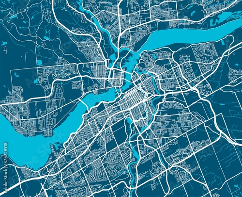 Photo Vector map of Ottawa. Street map art poster illustration.