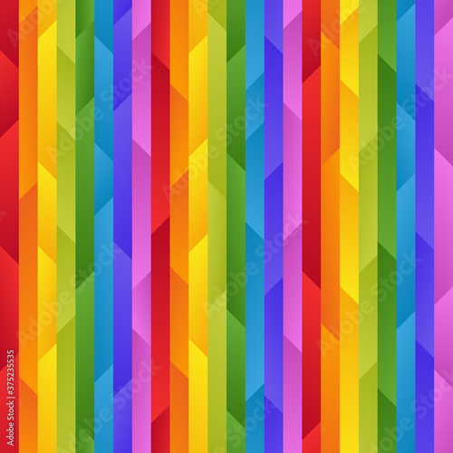 Bright Striped Rainbow Seamless Pattern of Simple Gradient Asymmetric Geometric Shapes Canvas Print