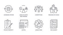 Market Economy Icons. Vector Set Icon Financial Symbol Editable Stroke. Economic System, Laws Of Supply And Demand Private Property Freedom Of Choice. Competition Free Market Laissez Faire Capital