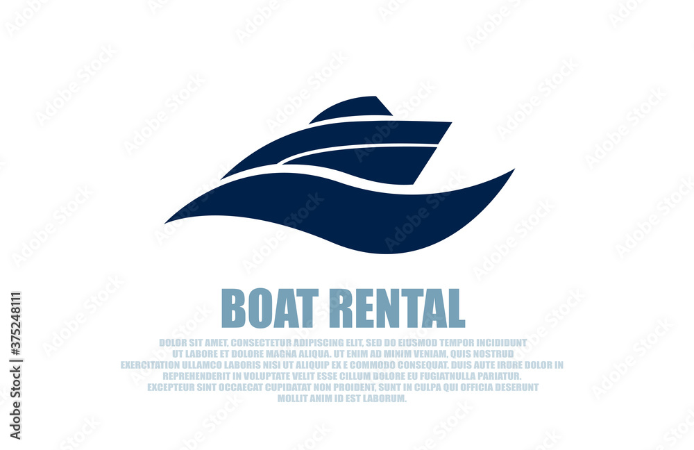 Fototapeta Vector of a stylish boat rental logo