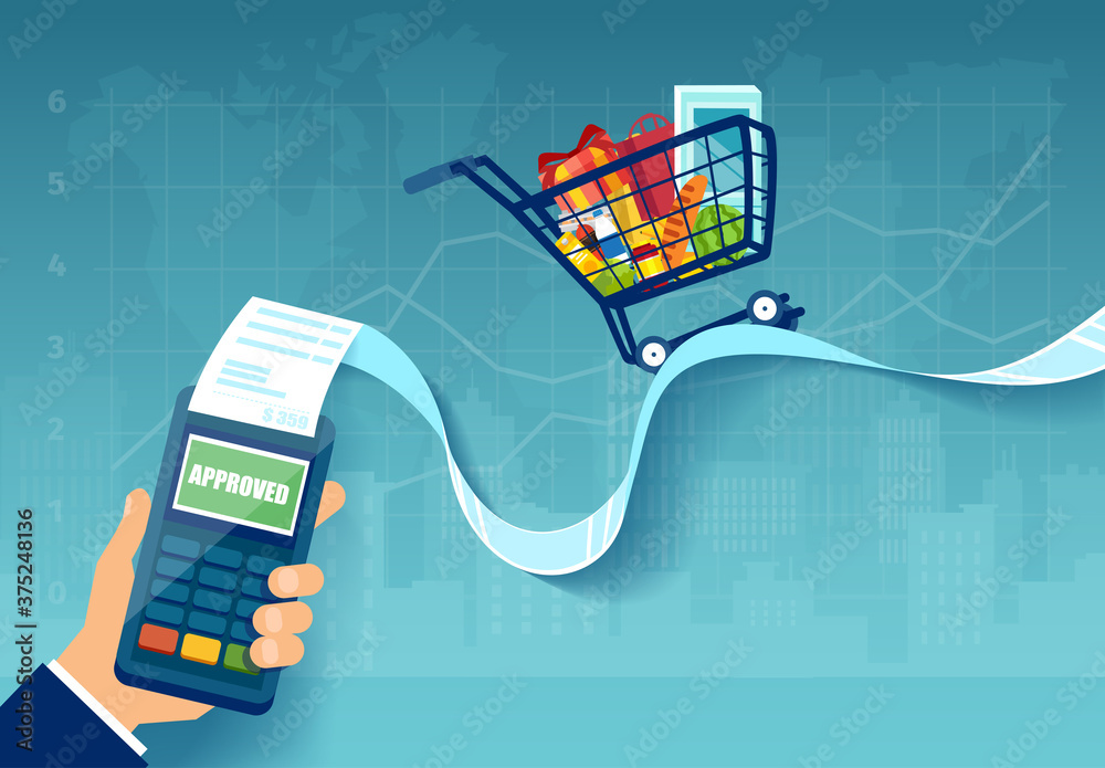 Fototapeta Vector of a shopping cart with groceries on a long POS terminal receipt