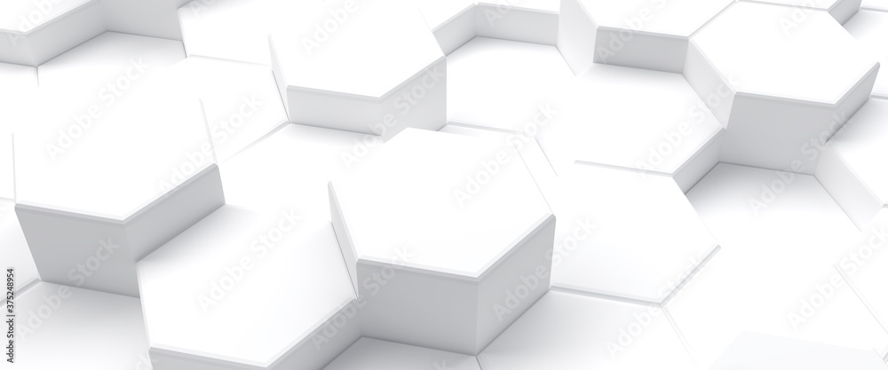 White hexagons abstract geometric background, 3d illustration
