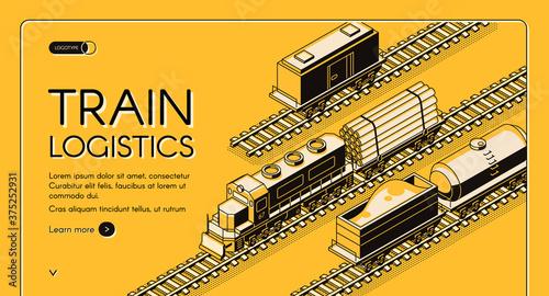 Fotografie, Obraz Train logistics service isometric vector website