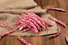 Fresh Kidney Beans On Wooden B...