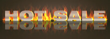 Hot Sale, Sale Banner. Text With Fire. Vector Illustration.