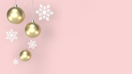 3D rendering Christmas background with balls and snowflakes