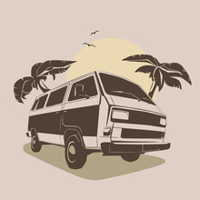 Vector Illustration - Print For T-shirt, Poster, Postcard. Travel Van, Palms And Text Holiday.