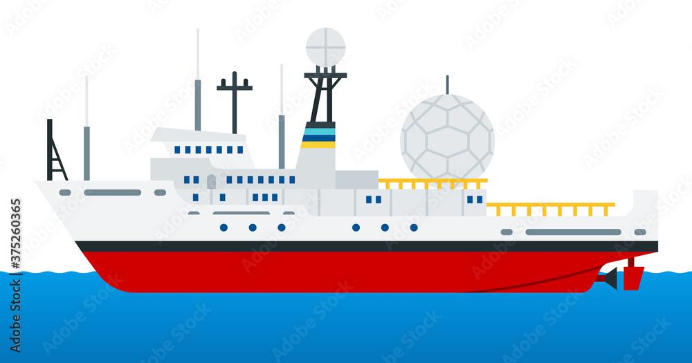 Fototapeta Reconnaissance ship for radio intelligence and electronic warfare vector